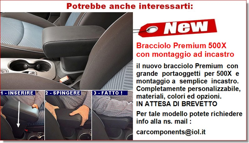 REGOLABILE LUNGHEZZA mittelarmlehne @ BRACCIOLO per FIAT 500X con CUCITURE BLU